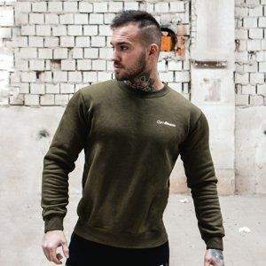 GymBeam Mikina Basic Military Green White  XXL