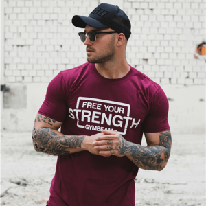 GymBeam Pánske tričko Free Your Strength Maroon White S