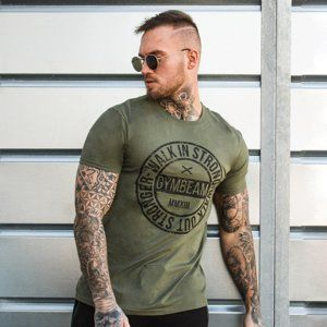 GymBeam Tričko Walk In Strong Military Green  S